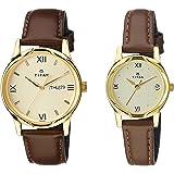 Titan Analog Gold Dial Pair Watch -NK15802490YL05