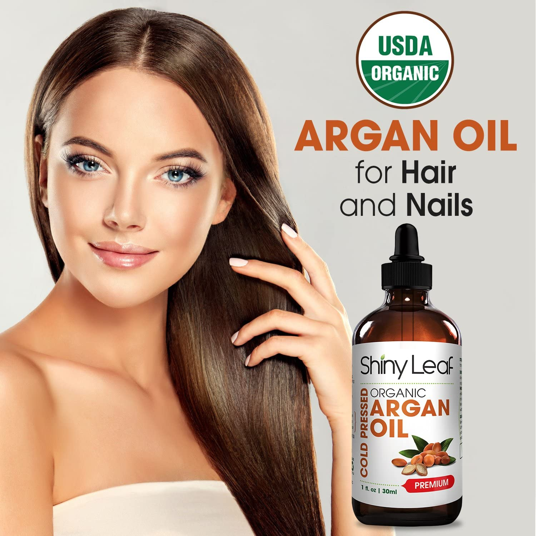 Shiny Leaf aceite de argán orgánico marroquí para el pelo con ...