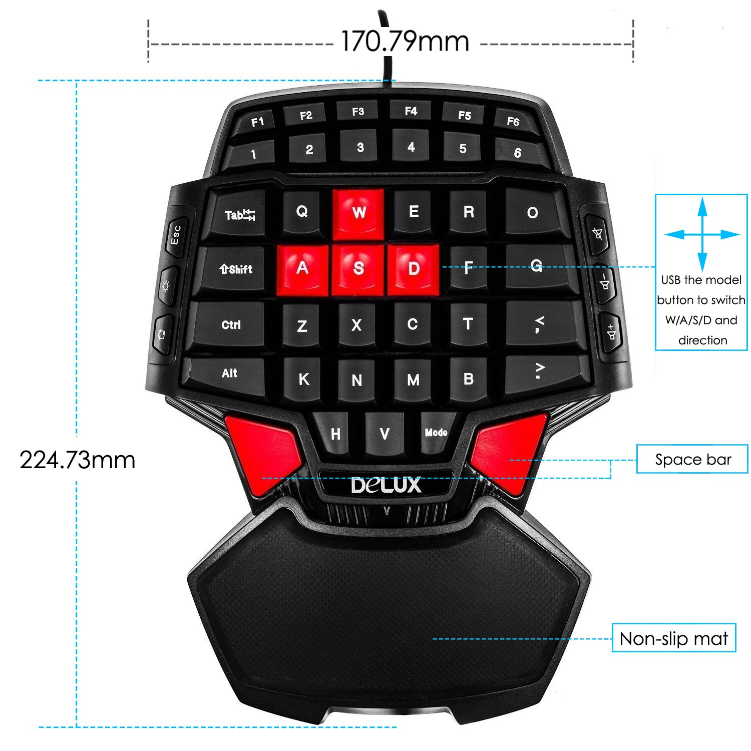 Amazon Delux T9 46 Key Singlehanded Wired Gaming Keyboard