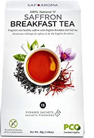 Safaroma Saffron Breakfast Tea | Certified Organic Full-Leaf Black Tea Mixed with Premium Saffron Threads | Ethically Sourced
