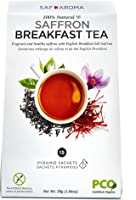 Safaroma Saffron Breakfast Tea | Certified Organic Full-Leaf Black Tea Mixed with Premium Saffron Threads | Ethically...