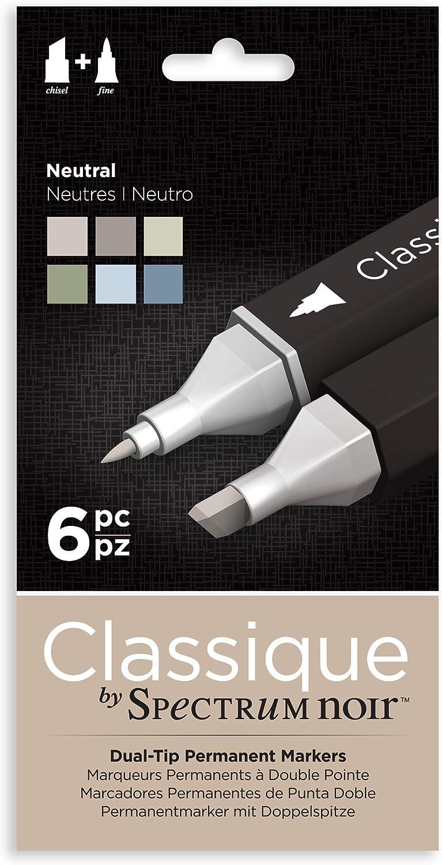 Spectrum Noir Classique Design Alcohol Marker Dual Nib Pens Set-Neutral-Pack of 6