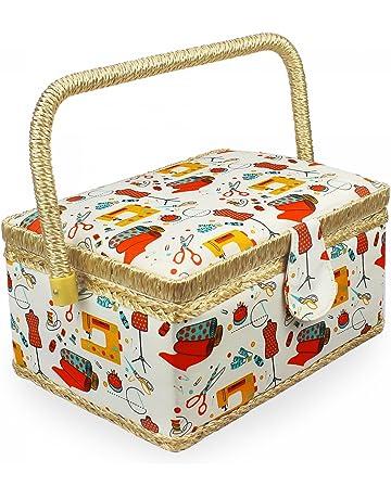 Leogreen - Cesto de Costura, Caja de Costura Portátil, 24 x 17,5