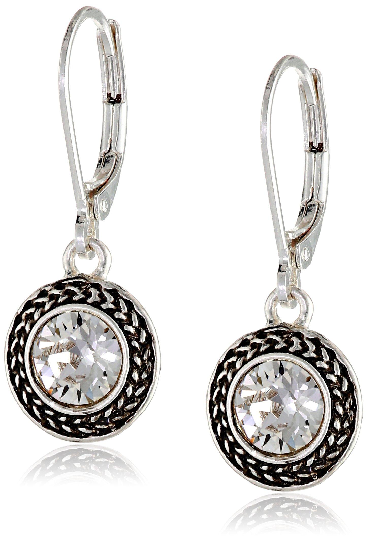 Napier ''Color Declaration'' Silver-Tone Crystal Swarovski Stone Leverback Drop Earrings by Napier