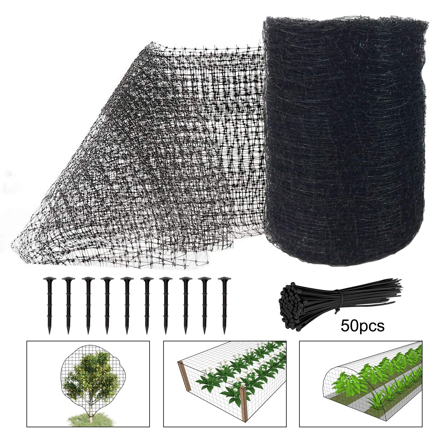 Deer Fence Netting, 7 x 100 Feet Bird Netting Heavy Duty Anti Bird Deer Protection Net Reusable Protective Netting for Garden Plants Fruit Trees Against Birds, Deer and Other Animals