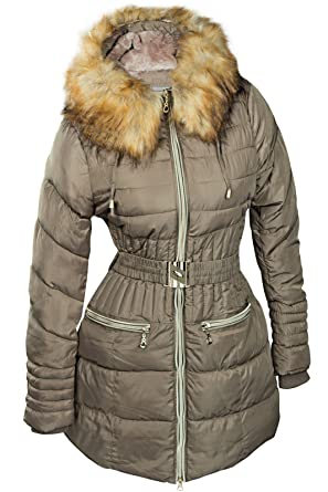 6d35c8a3b295c1 Damen Winter Mantel Jacke Fell Parka Winterjacke Kapuze LANG Pelz Alaska  Gold S M L XL XXL,