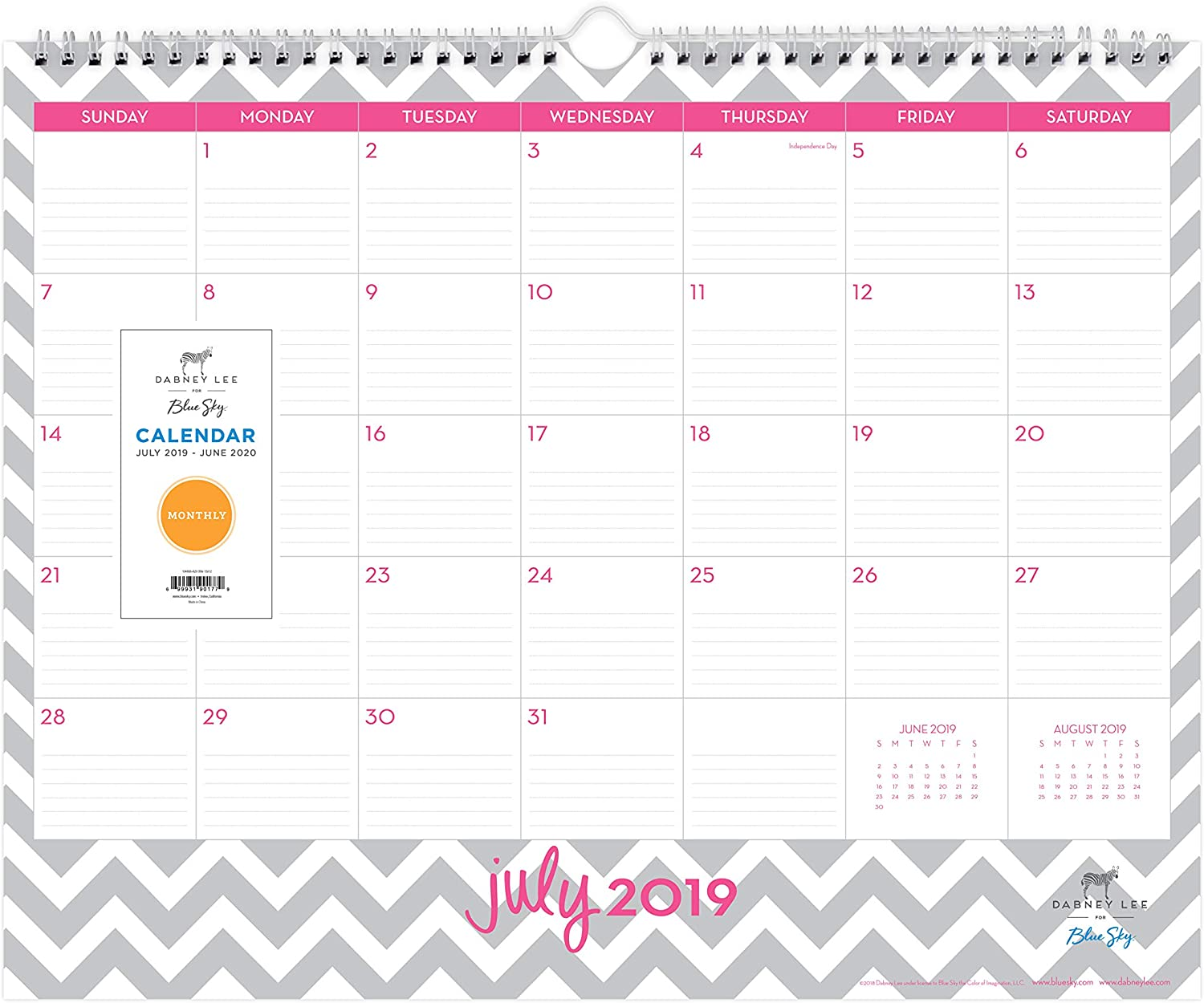 """Dabney Lee for Blue Sky 2020-2021 Academic Year Monthly Desk Pad Calendar, Two-Hole Punched, Ruled Blocks, 22"""" x 17"""", Ollie : Office Products"""