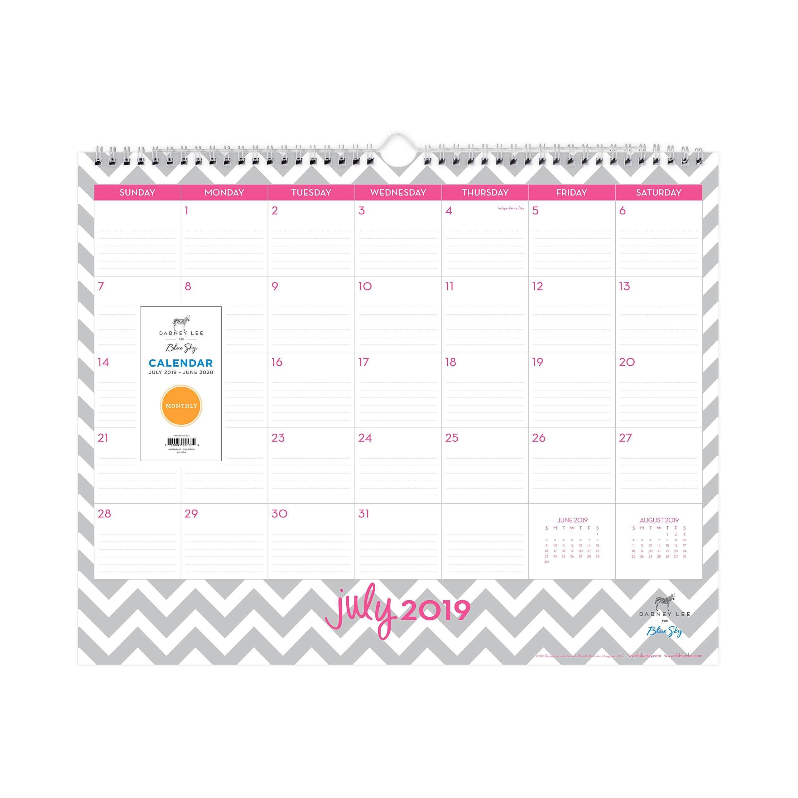 Dabney Lee for Blue Sky 2019-2020 Academic Year Monthly Wall Calendar, Ruled Blocks, Twin Wire Binding, 15'' x 12'', Ollie by Blue Sky