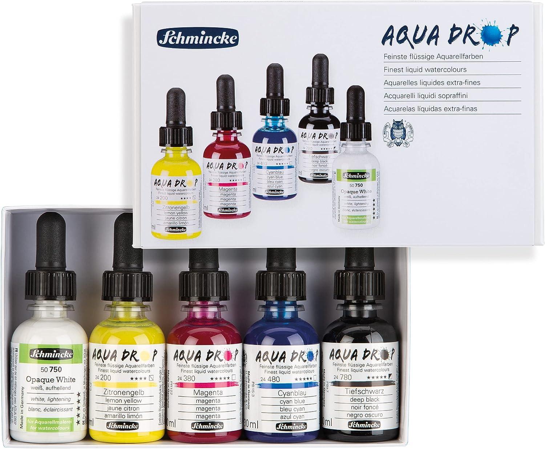 Schmincke Aqua Max 84% OFF Drop Cardboard Set 5X Primary Opaq + trend rank Colours 30ml