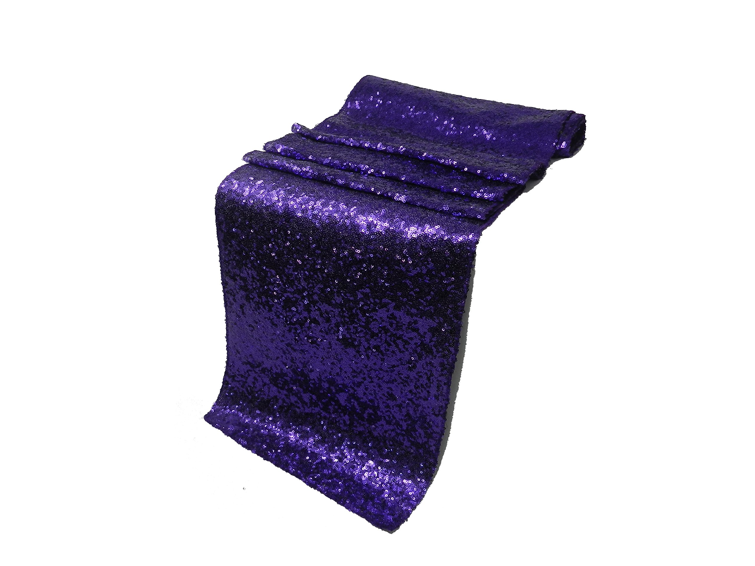Liva Home Pack Of 20 Wedding 13 x 108 inch Sequin Table Runner Wedding Banquet Decoration (20, PURPLE)