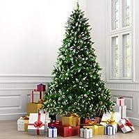 ZERLA 7.5ft Premium Spruce Artificial Christmas Snowflake Tree