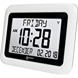 GEEMARC VISO10 - Extra Large Easy To Read Digital Clock - Clear Big Letter Full Text Display For Time, Day, Date, Month & Year - For Vision Impaired, Dementia, Alzheimer Sufferers - Battery Operated