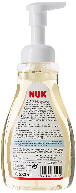 Nuk - Limpiador de 380 ml, con dispensador de espuma directa para biberones y tetinas. Sin perfume ni colorantes. Duradero y fácil de dosificar.