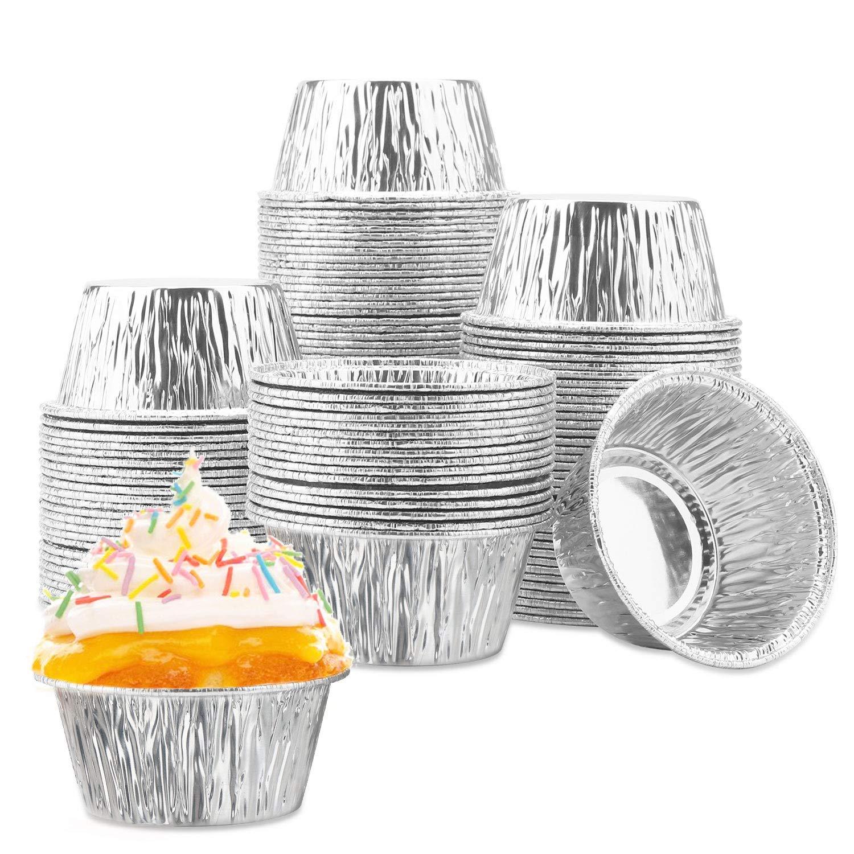 100 Pcs Aluminum Foil Cupcake Cups, Eusoar 4 Ounce Ramekin Muffin Baking Cups, Disposable Muffin Liners, Ramekin Holders Cups, Aluminum Cupcake Baking Pan, Pudding Baking Cups by Eusoar