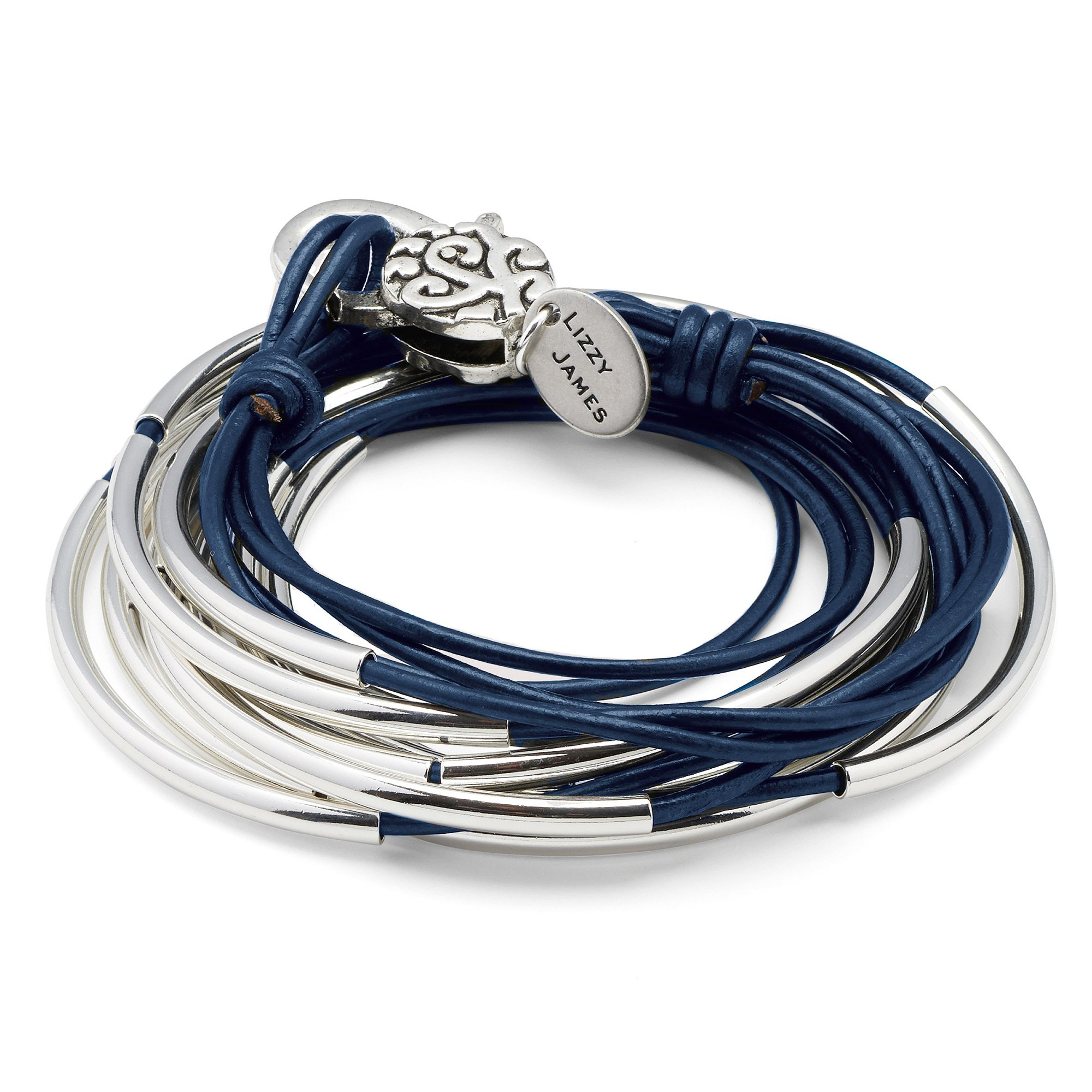 Lizzy Classic Gloss Navy Leather and Silver Wrap Bracelet Necklace (MEDIUM) by Lizzy James