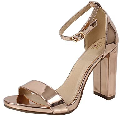 79a9ba6ea0f Delicious Women s Shiner Open Toe Ankle Strap Chunky Block Heel (Rose.Gold