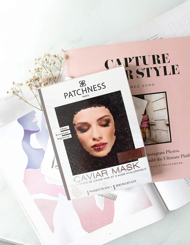 patchness–Caviar Mask–Máscara seda listo para mesa Liftant Coup D 'Eclat extraits de Caviar negro–ácido hialurónico 1máscara y 1Sérum de uso única