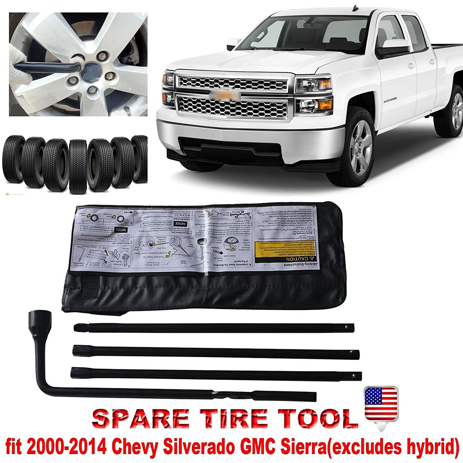 NEW Spare Tire Tool Wheel Lug Wrench Kit For Chevy Silverado 1500 / GMC Sierra 1500 With Carry Case Autobaba 22969377 20782708