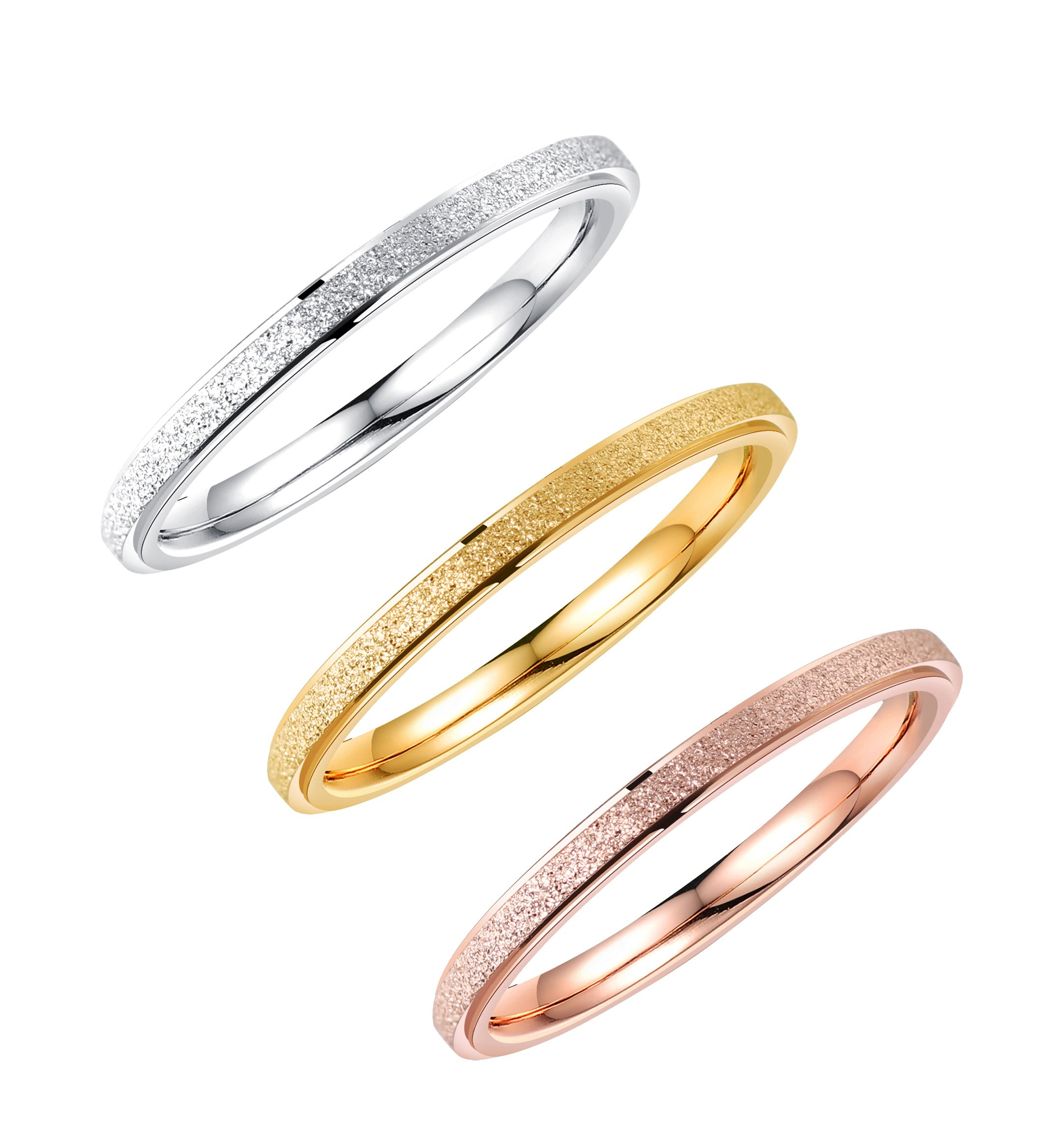 ALEXTINA 3 Pack Stainless Steel 2MM Thin Stackable Midi Rings for Women Rose Gold Silver Wedding Engagement Bands, Size 9