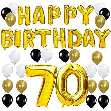 KUNGYO Letras Tipo Balón Doradas Happy Birthday+Número 70 Mylar Foil Globo+24 Piezas Negro Oro Blanco Globo de Látex 70 Años de Antigüedad Fiesta de ...