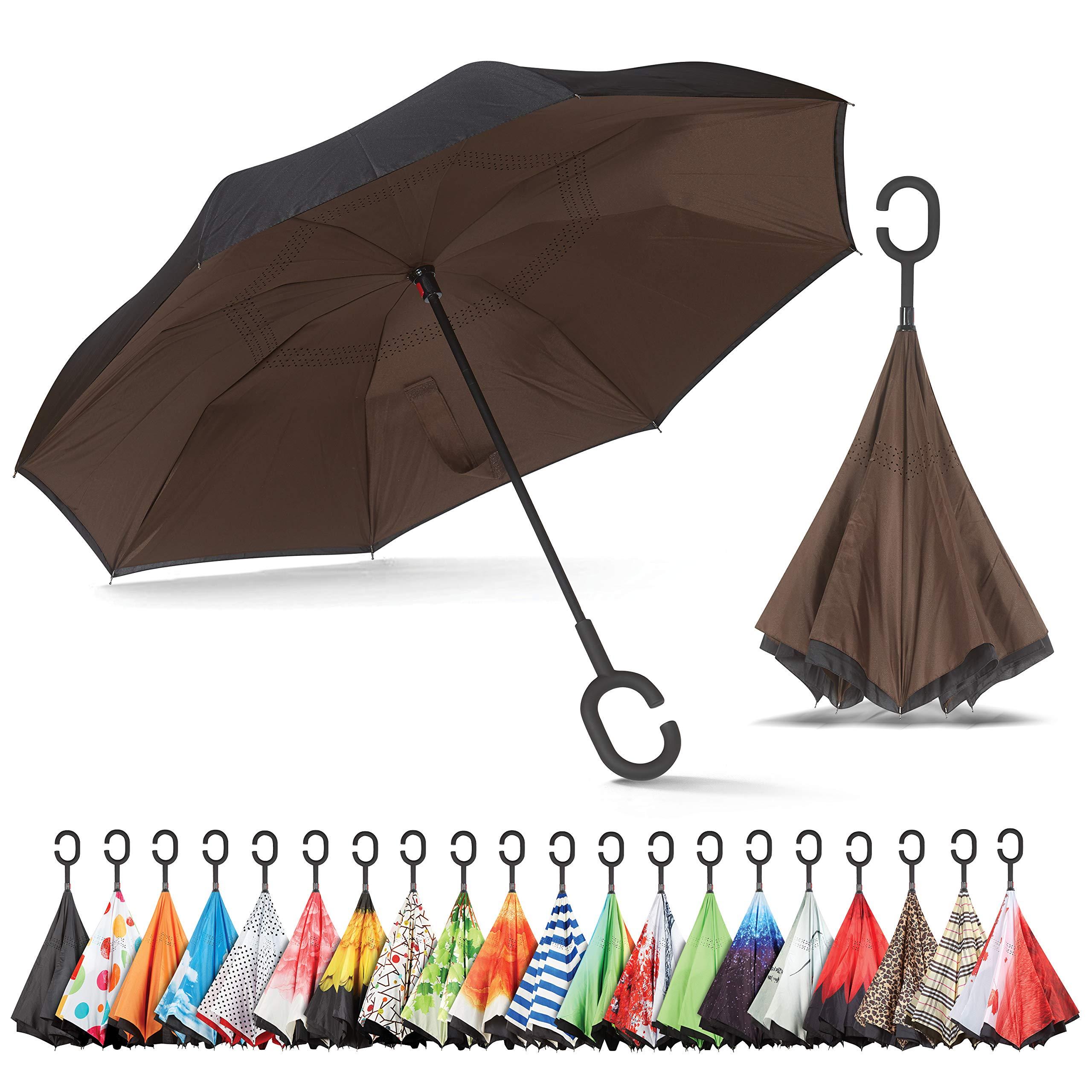 Sharpty Inverted Umbrella, Umbrella Windproof, Reverse Umbrella, Umbrellas for Women with UV Protection, Upside Down Umbrella with C-Shaped Handle (Black - Coffee)