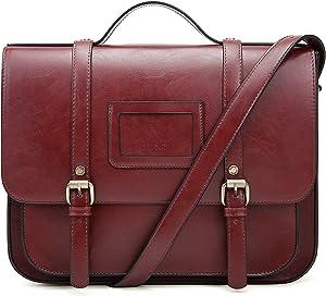 ECOSUSI Women Briefcase Vintage Crossbody Messenger Bag PU Leather Satchel Purse, Red