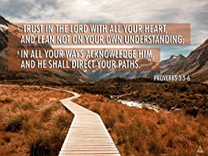 Proverbs 3:5-6 Poster Trust in the Lord Bible Verse Quote Wall Art (24x18)