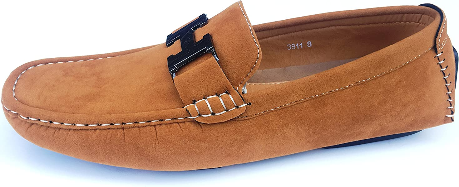2db0aa80e01e Mens Leather Look Designer Inspired Slip On Loafers Shoes 3811 (6, Suede  Brown): Amazon.co.uk: Shoes & Bags