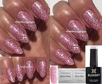 Bluesky BLZ44 Baby Pink Blossom Glitter Sparkle Nail Gel Polish UV ...