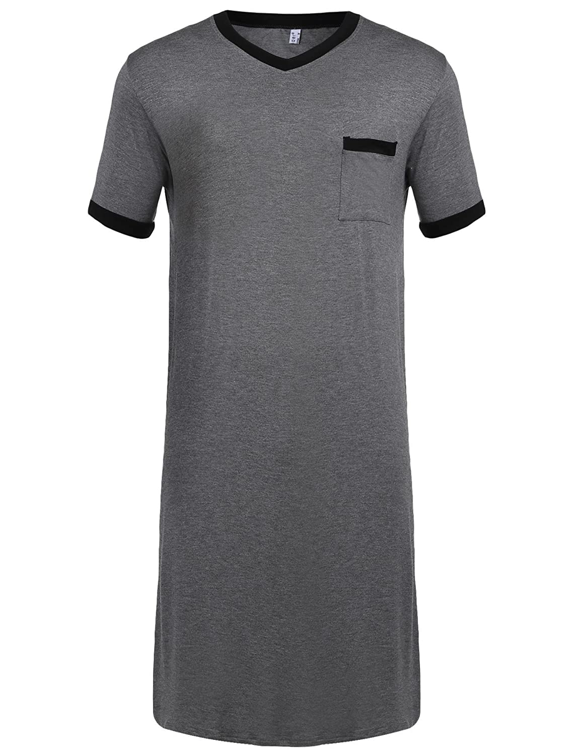 Aimage Men Short Sleeve Pajama Dress Contrast Color Loose Sleepshirt Short Nightshirt with Pocket M-XXXL