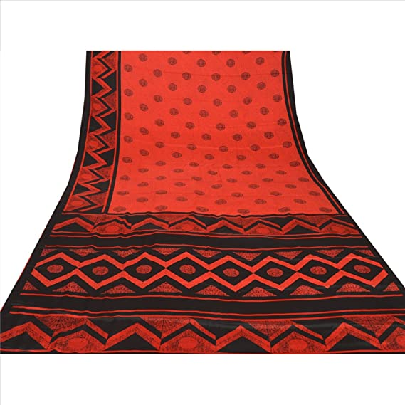 e13c6984a35 Skirts  N Scarves New Red Printed Moss Crepe Saree   Blouse Piece Indian  Craft Sari