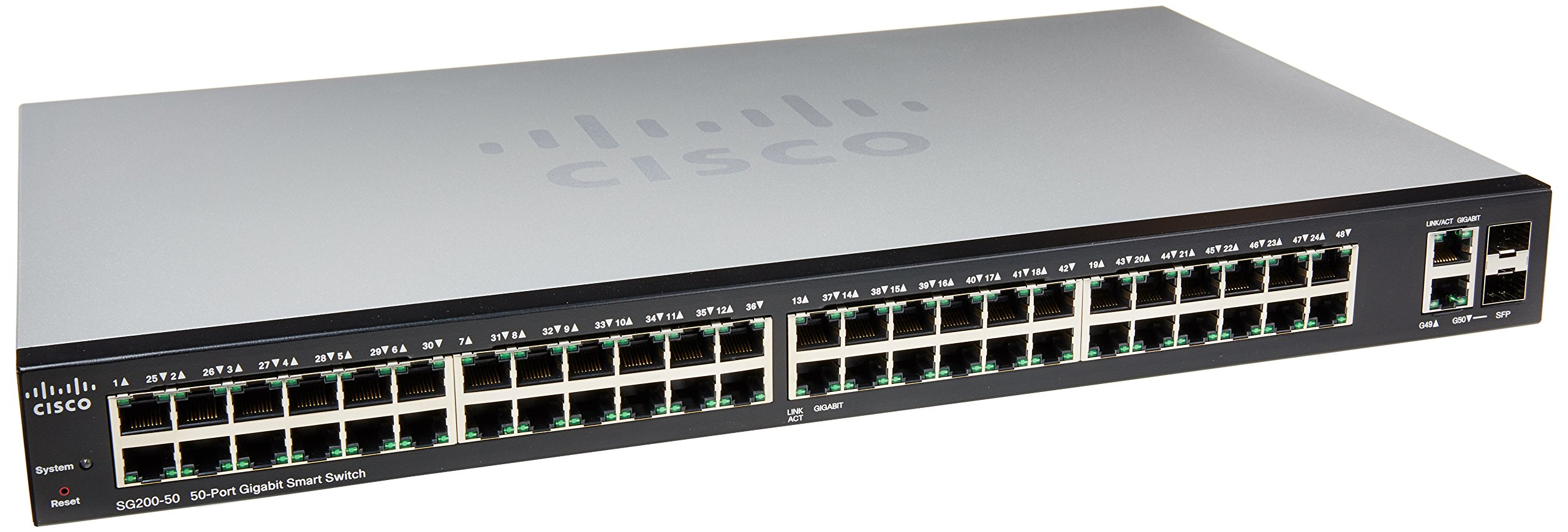 Cisco Small Business 200 Series SLM2048T-NA Smart SG200-50 Gigabit Switch 48 10/100/1000 Ports, Gigabit Ethernet Smart Switch, 2 Combo Mini-GBIC Ports by Cisco
