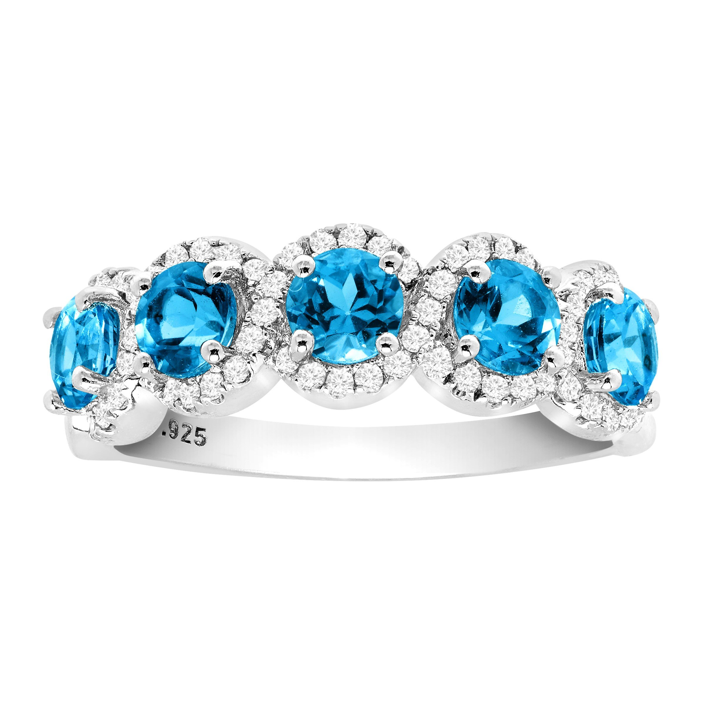 1 1/2 ct Natural Swiss Blue Topaz & 1/4 ct Diamond Band Ring in Sterling Silver Size 7