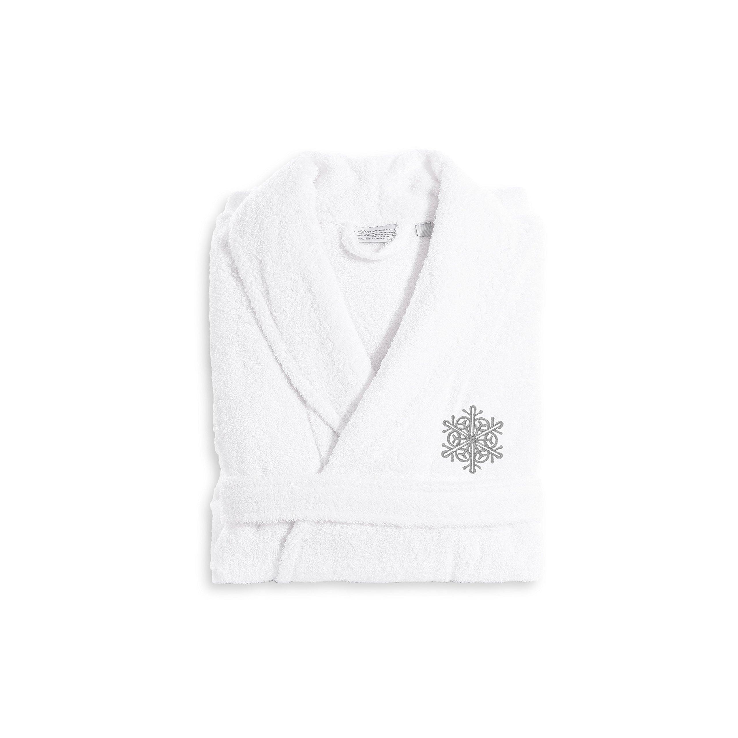 Linum Home Textiles TR00-XX-95-FLK Terry Robe Grey Snow Flake