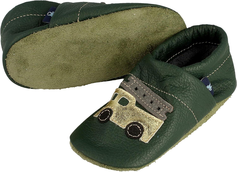 Pantau IT'S A SMALL WORLD Chaussures d'éveil et de poupées en cuir avec pompier, enfants et adultes, 100 % cuir fait main Vert Doré Gris Noir