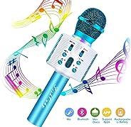 FishOaky Wireless Bluetooth Karaoke Microphone, Portable Kids Microphone Karaoke Player Speaker with LED & Music Singing Voi