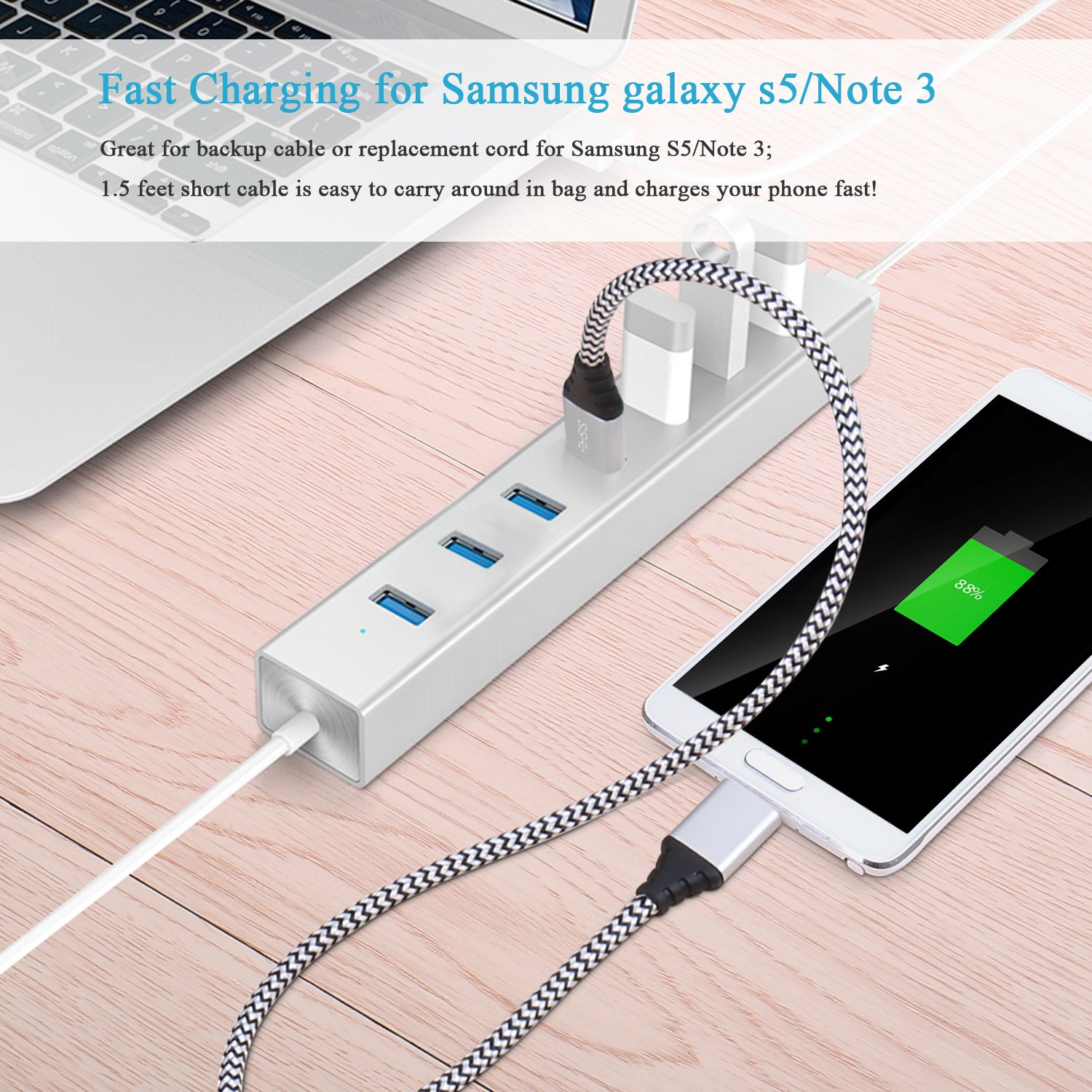 amazon com galaxy s5 charger cable besgoods 2 pack 1 5ft short