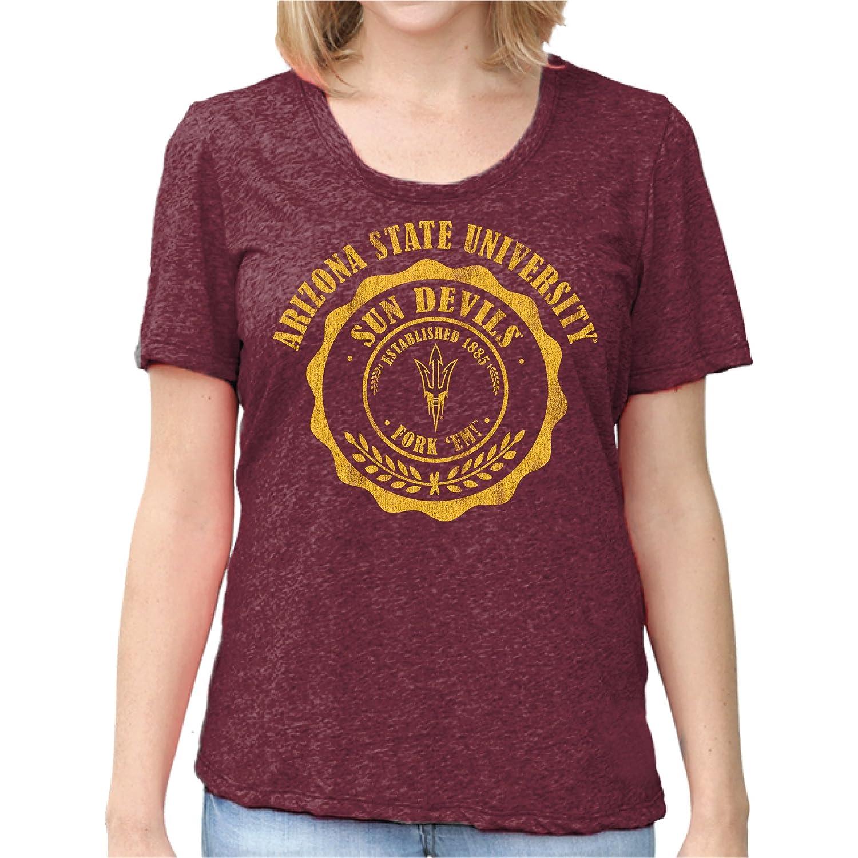 Dark Maroon Medium Original Retro Brand NCAA Arizona State Sun Devils Womens Nubby Slub Tee