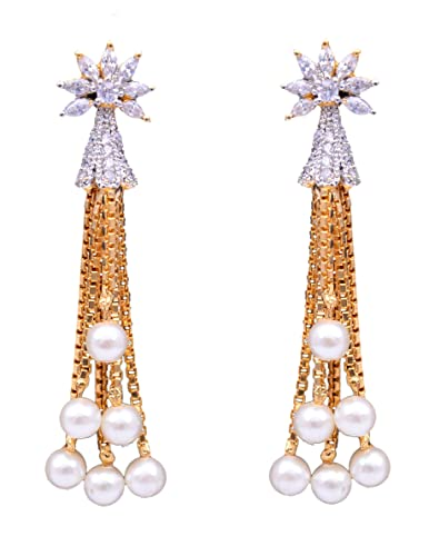 5beb31d9dd5 Buy Sitashi Fashion Imitation Jewellery Created Pearl and AD Dangler Ear  Rings for Girls and Women Online at Low Prices in India