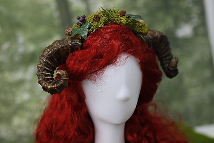Faun Horns Headdress Druid Ram Horn Headband Woodland Cosplay Fairy
