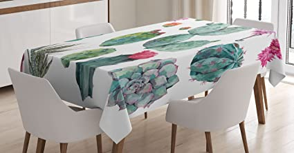 "Ambesonne Nature Tablecloth, Desert Botanical Herbal Cartoon Style Cactus Plant Flower with Spikes Print, Dining Room Kitchen Rectangular Table Cover, 52"" X 70"", Green Pink best rectangular tablecloths"
