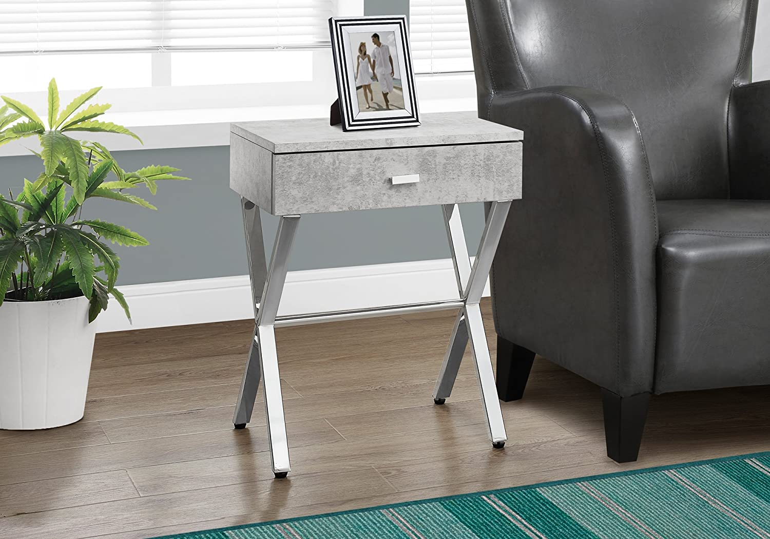 """Monarch Specialties I Night Stand Accent Table, 22.00 x 12.00 x 18.00"""", Grey Cement/Chrome"""