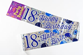 Happy 18th Birthday Banner Silver Blue Teen Male Boys Men Party Decoration Wall