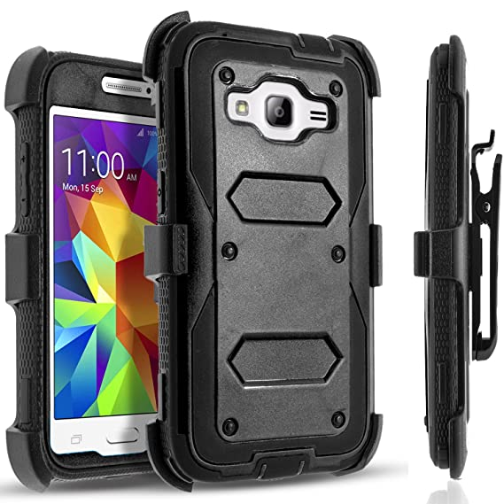 buy popular 847e2 86fd5 Galaxy Grand Prime Case, [SUPER GUARD] Dual Layer Hybrid Protective Cover  With [Built-in Screen Protector] Holster Locking Belt Clip+Circle(TM)  Stylus ...