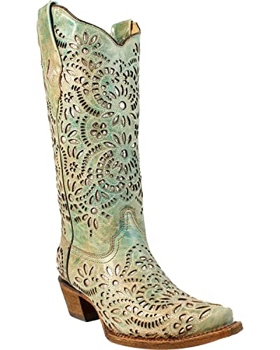 CORRAL Women s Blue Glitter Inlay Embroidered Cowgirl Boot Snip Toe Blue  5.5 M fae0c4967a