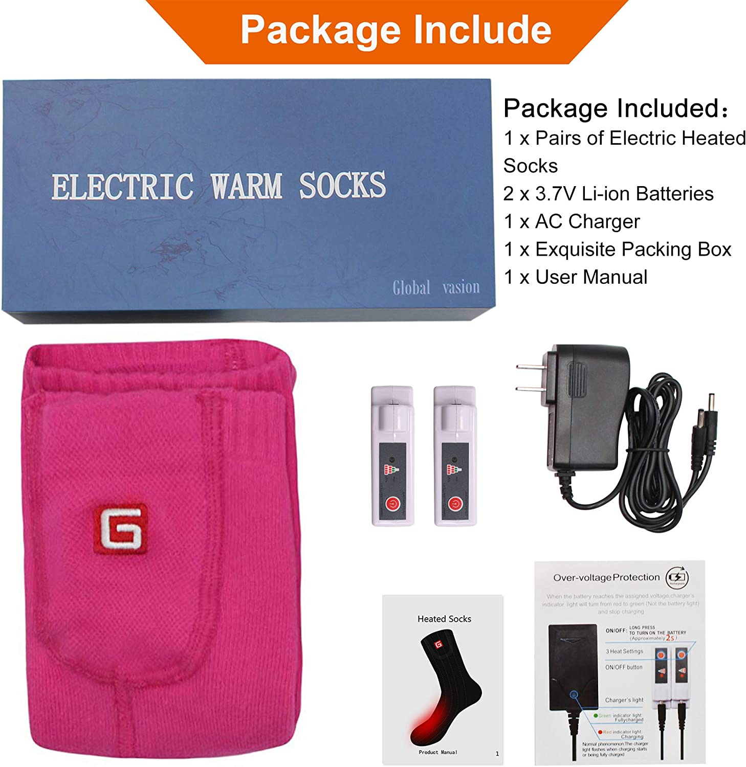 MMlove Electric Heated Socks Rechargeable Battery Thermal Socks Winter Foot Warmers