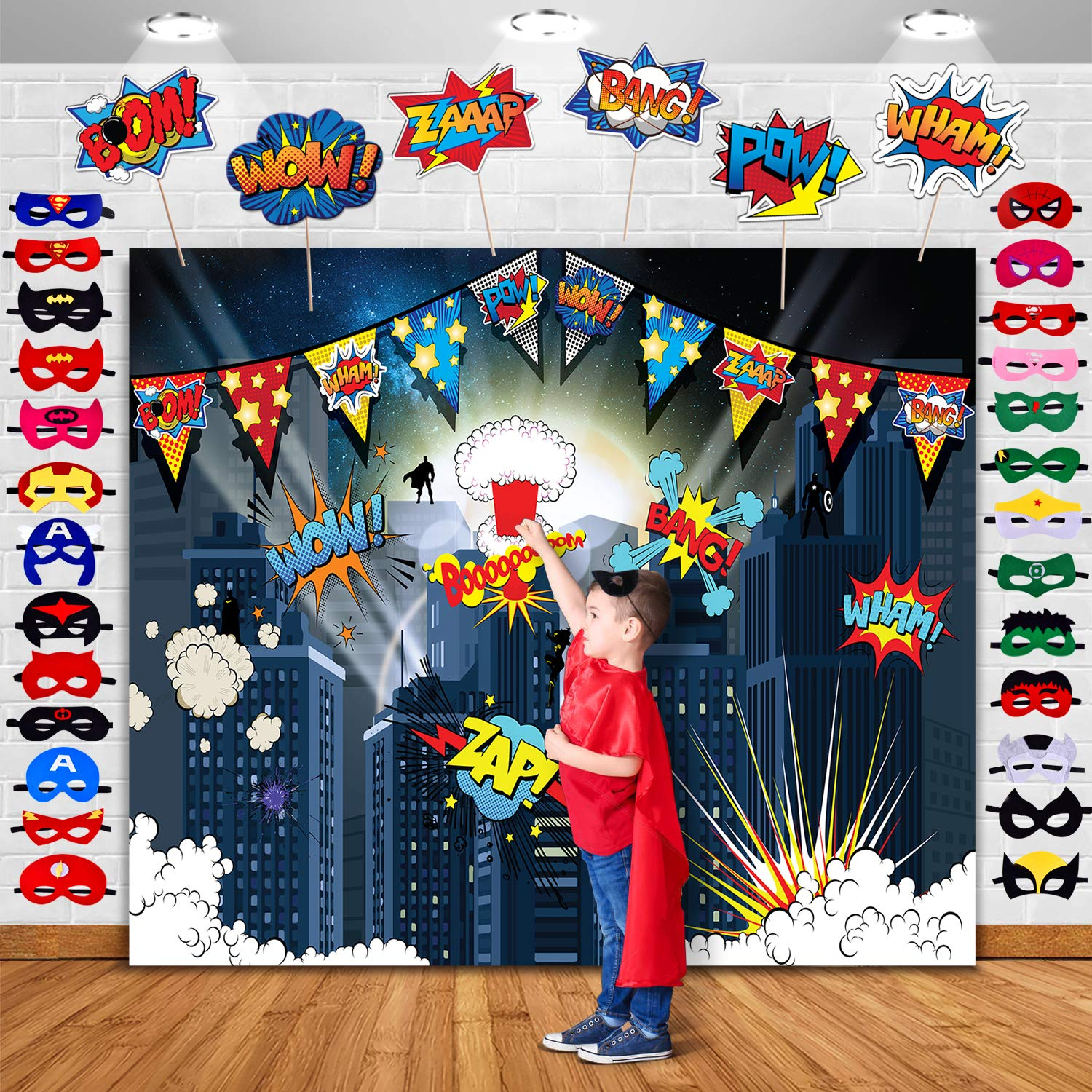 TMCCE Superhero Cityscape Photography Backdrop and Superhero Party Backdrop Supplies,27 Superhero Masks 6 Superhero Photo Booth Props for Superhero Birthday Party Decorations for Kids by TMCCE