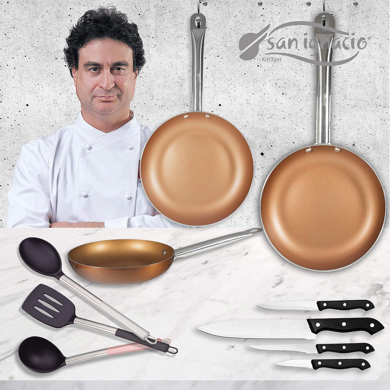 San Ignacio Copper Plus Set 3 sartenes + 4 Cuchillos + 3 Utensilios ...