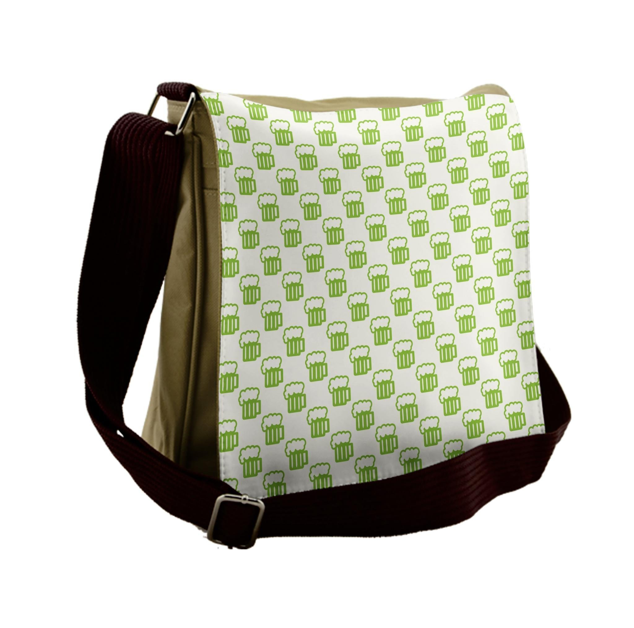 Ambesonne Green Messenger Bag, Foamy Cute Beer Glasses, Unisex Cross-body