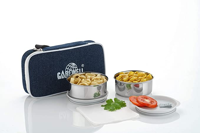 Carewell Smart 2 Containers Lunch Box  500 ml   Blue  Lunch Boxes